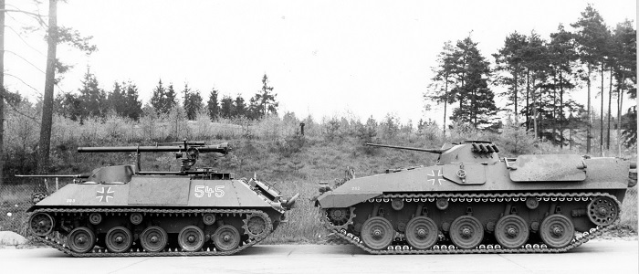Size comparison of the prototype RU262 (right) with the IFV HS30 (here with a 106mm light gun).  The RU262 was a good ten tons heavier than the HS30.  Source: KTS II / III Munster