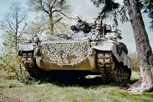 SPz Marder1A1 with retrofitted MILAN weapon system and heat location receiver (WOE) on the support arm of the shooting light.  The vehicles have now also received chain aprons.  Source: Author archive
