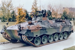 SPz Marder1A2 with retrofitted thermal imaging device on the gunner's area.  The rear mount has been omitted.  Source: Thyssen-Henschel AG