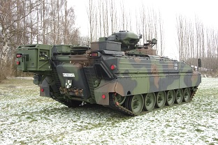 SPz Marder1A5A1 with retrofitted room cooling system in the rear of the vehicle.  Source: Rheinmetall