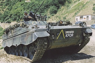 AFV Marder1A3 in action with the KFOR troops in Kosovo.  Source: Author archive